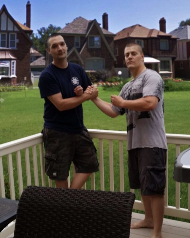 Mike with his friend Brad